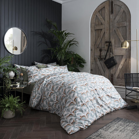 Fat Face - Lounging Leopards Duvet Cover - Fern Green - Double