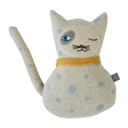 OYOY - Darling Cushion - Baby Benny Cat - Off White/Pale Blue