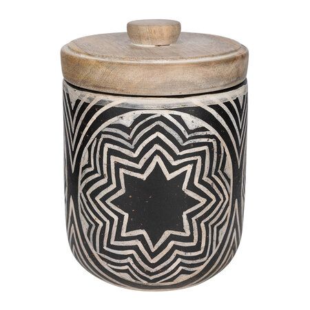 Global Explorer - Patterned Pot With Lid - Black & White