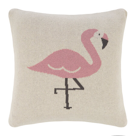 Retreat - Animal Knitted Cushion - 40x40cm - Flamingo