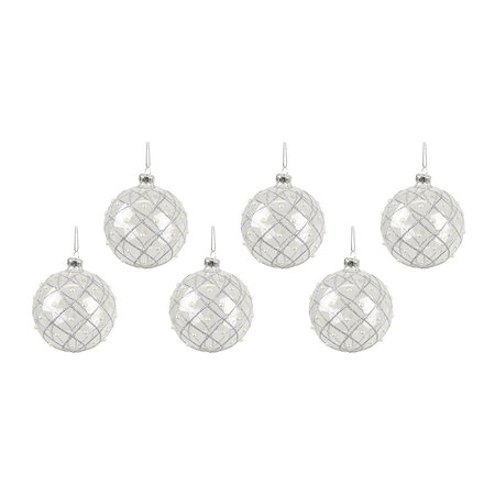Gisela Graham - Glitter Trellis Bauble with Pearls - Set of 6