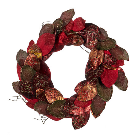 A by AMARA Christmas - Metallic Magnolia Leaf Wreath - Red/Brown