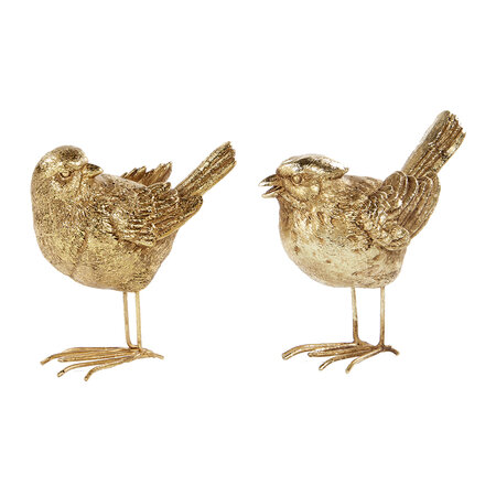 A by AMARA - Antique Look Standing Bird Ornament - Set of 2 - Gold