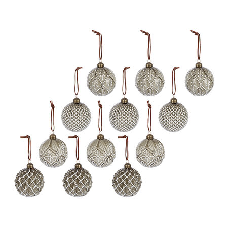 A by AMARA - Assorted Decorative Baubles - Set of 12 - Gold