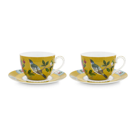 Pip Studio - Blushing Birds Cup and Saucer - Set of 2 - Yellow