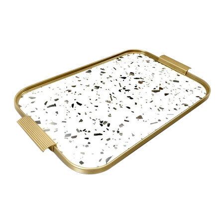 Kaymet - Ribbed Metal Tray with Handles - Terazzo