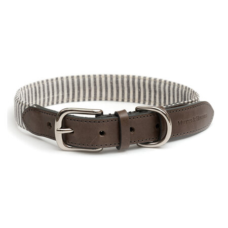 Mutts & Hounds - Rayure anthracite/Collier en cuir anthracite - Moyen
