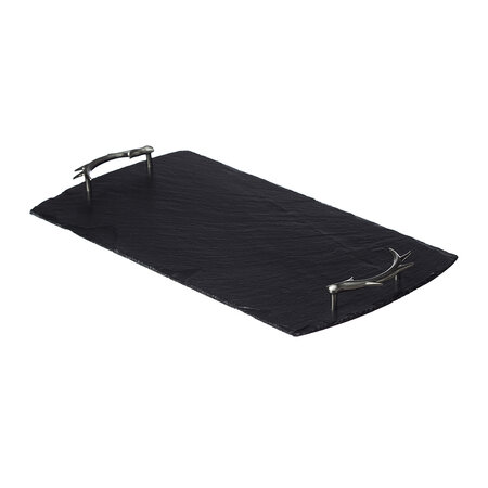 The Just Slate Company - Serving Tray with Antler Handles - Large