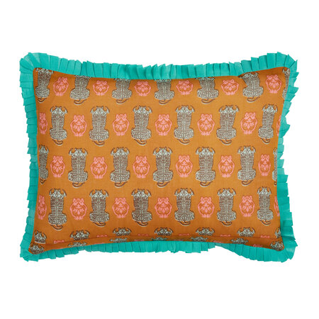 Lisa Corti - Abstract Frilled Pillow - 35x50cm - Green/Mustard