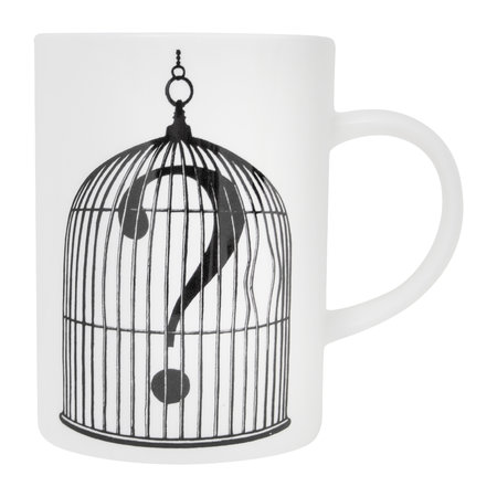 Rory Dobner - Marvelous Mugs - Birdcage with Question Mark