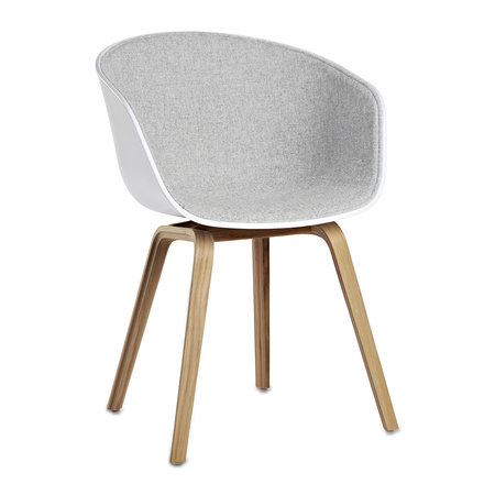 HAY - About A Chair AAC22 with Front Upholstery - White Shell