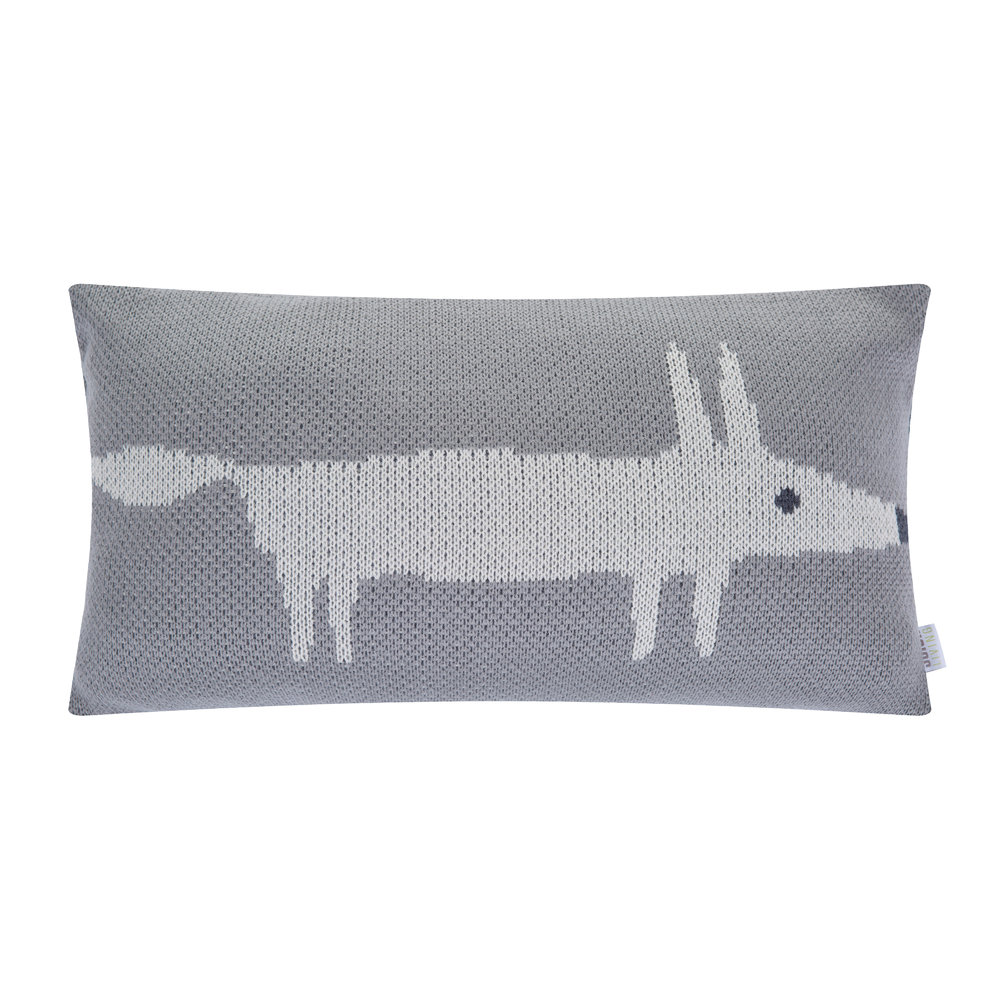 Scion - Mr Fox Knitted Pillow - 30x50cm - Silver