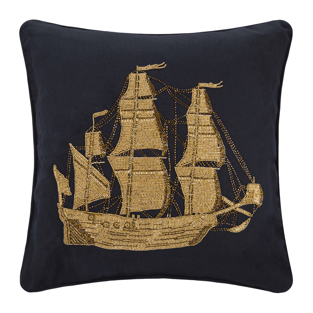 Jonathan Adler - Aquatica Ship Cushion - Ship - 50.8x50.8cm