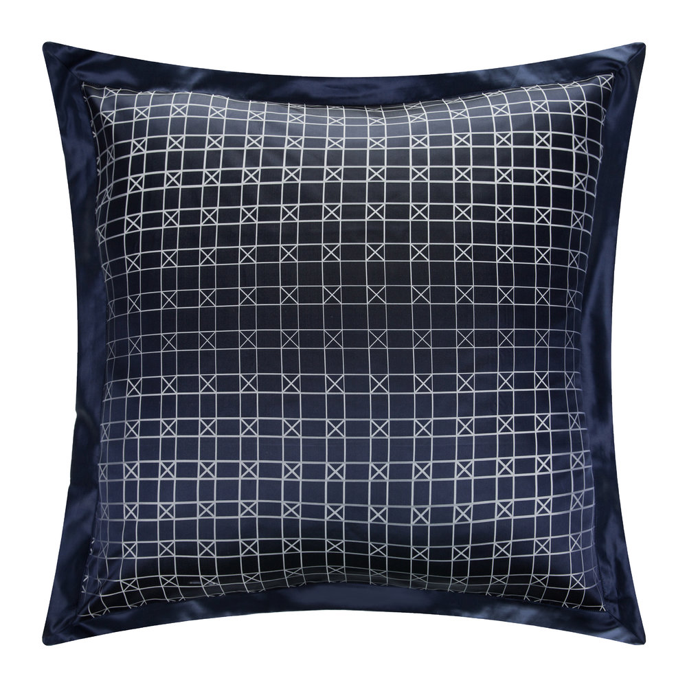 Gingerlily  Geometric Navy Silk Pillowcase  65x65cm