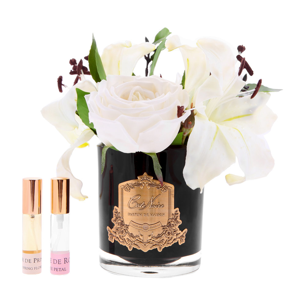 Côte Noire - Lillies & Roses in Black Glass - Ivory