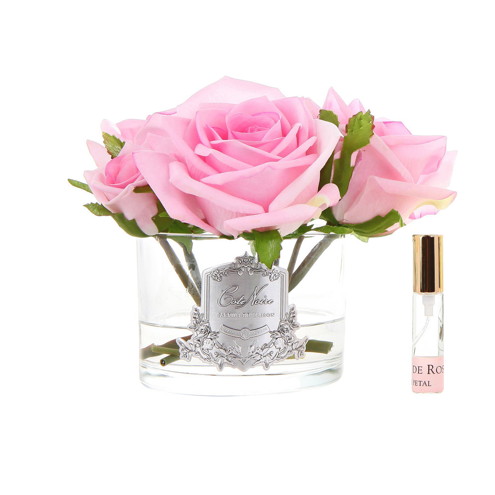 Côte Noire - Roses in White Glass with Giftbox - Pink
