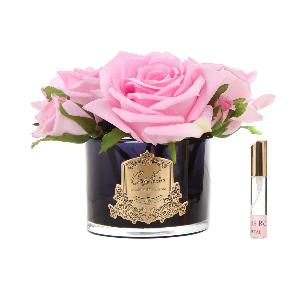 Côte Noire - Roses in Black Glass with Giftbox - Pink
