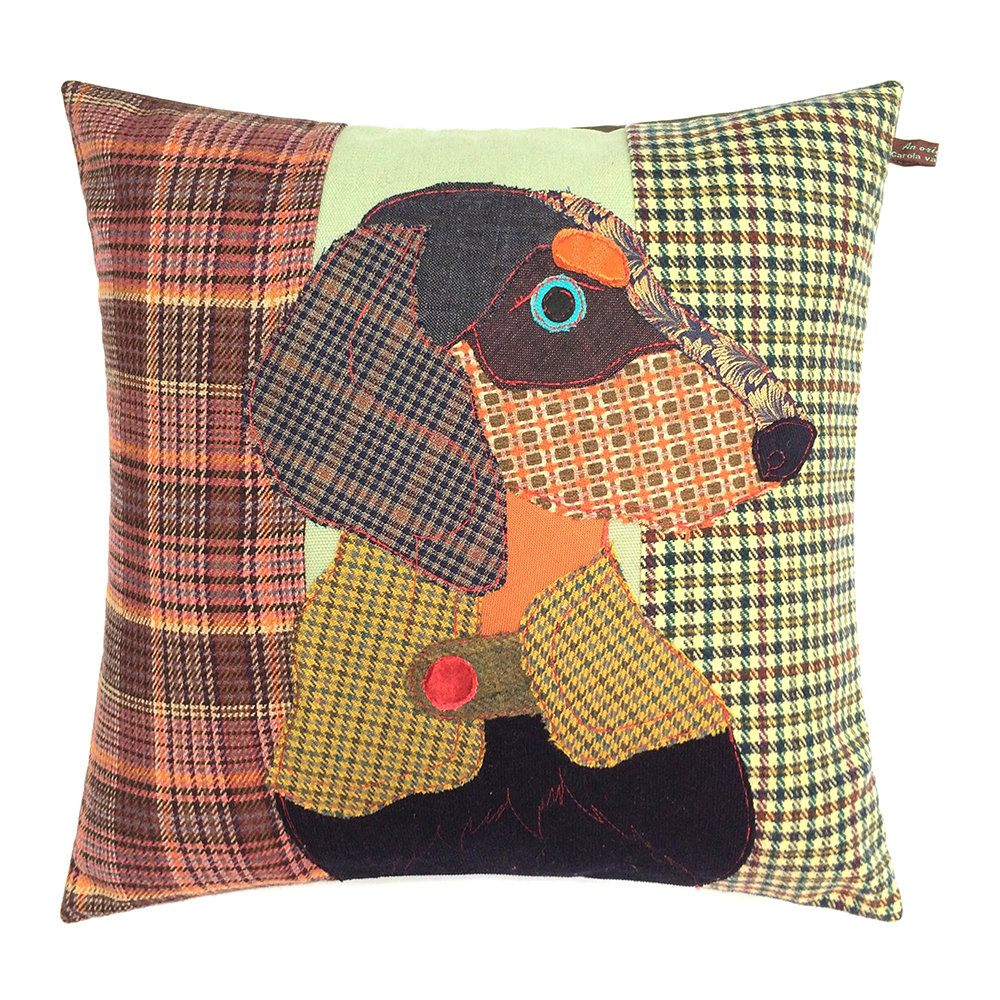 Carola van Dyke - Franz the Dachshund Cushion - 50x50cm