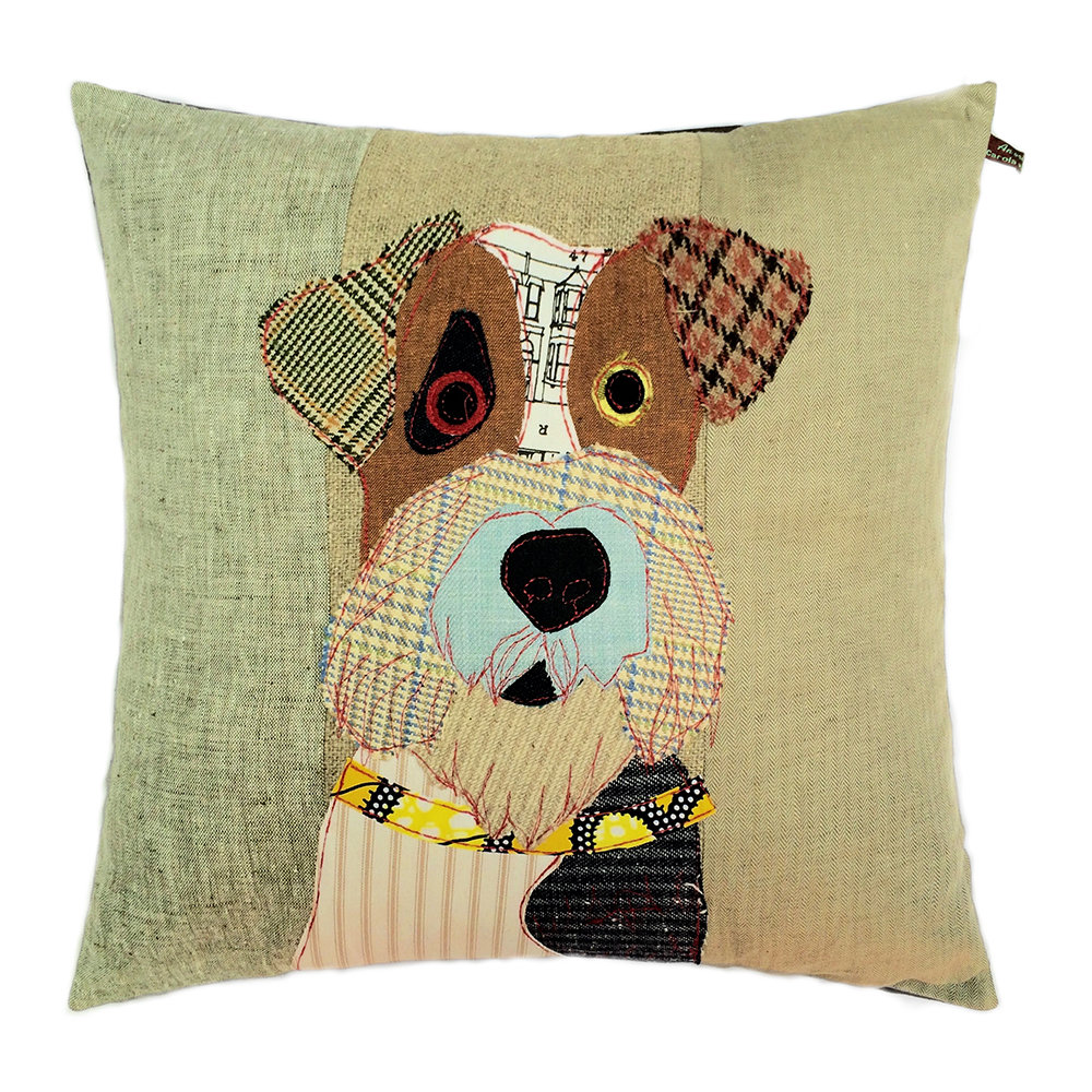 Carola van Dyke - Freddy the Fox Terrier Cushion - 50x50cm