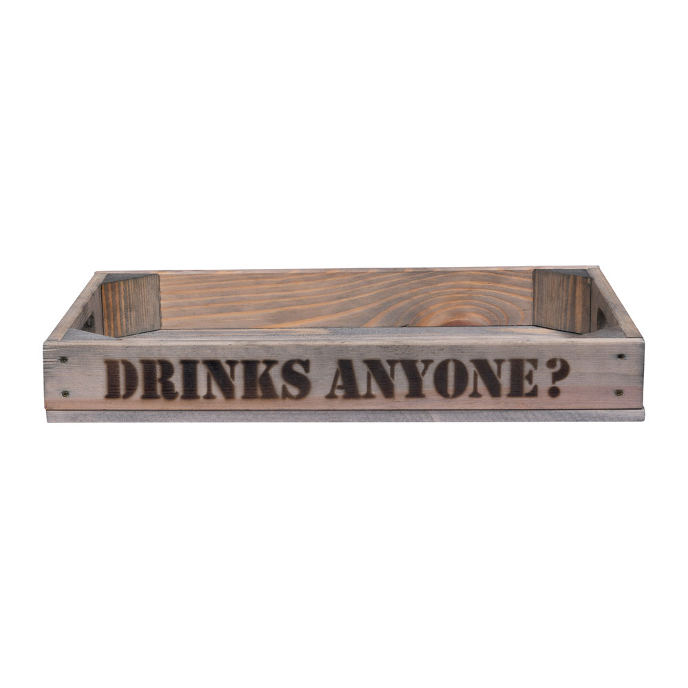 """Garden Trading - Wooden Tray - """"Drinks Anyone"""""""