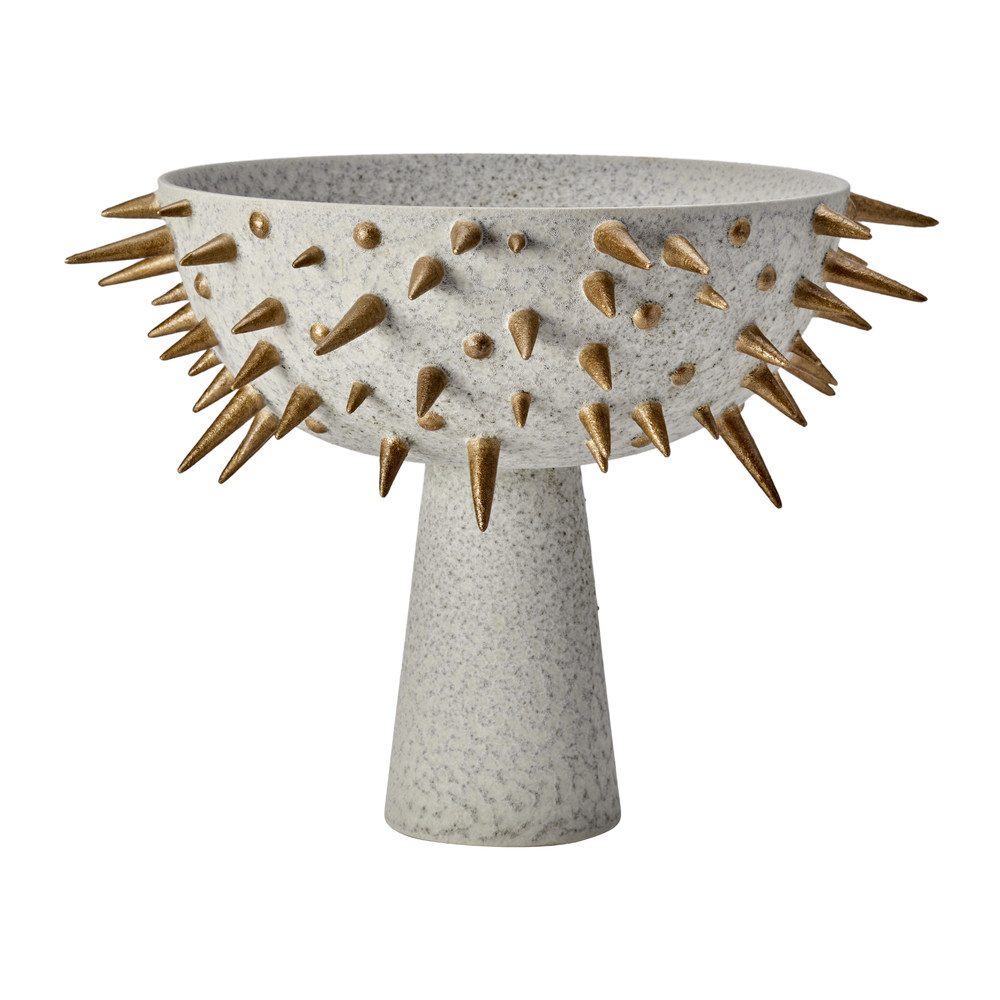 L'Objet - Celestial Bowl on Stand - Grey  Gold - Large