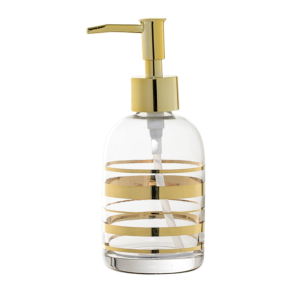 Buy bloomingville gold glass soap dispenser amara for Gold glass bathroom accessories