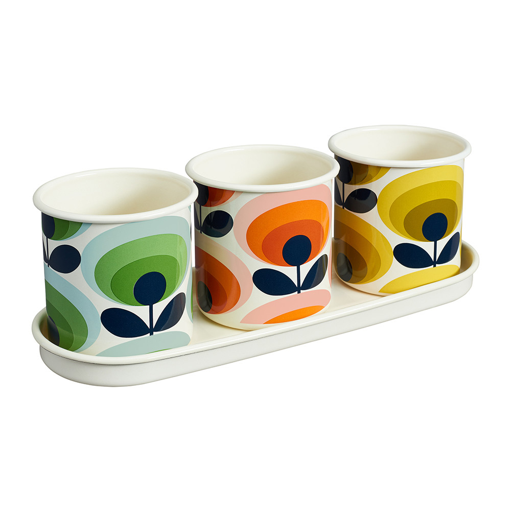 Orla Kiely - 3 Herb Pots with Tray - 70s Flower Oval