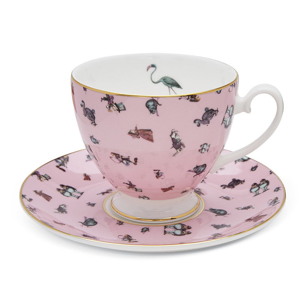 Mrs Moore's Vintage Store - Alice Flamingo Chintz Teacup  Saucer - Pink
