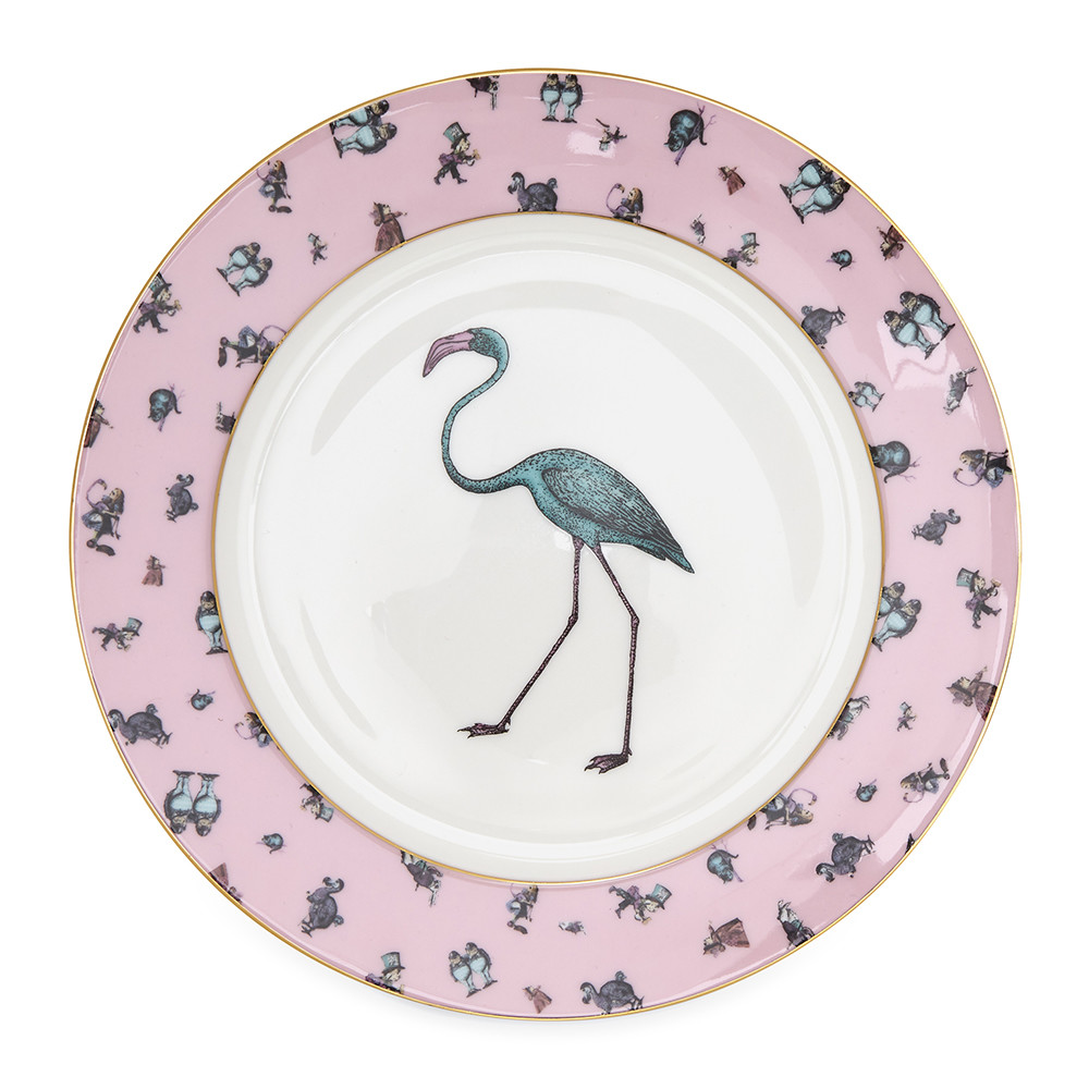 Mrs Moore's Vintage Store - Alice Flamingo Chintz Pink Plate with Gold Trim - 20cm