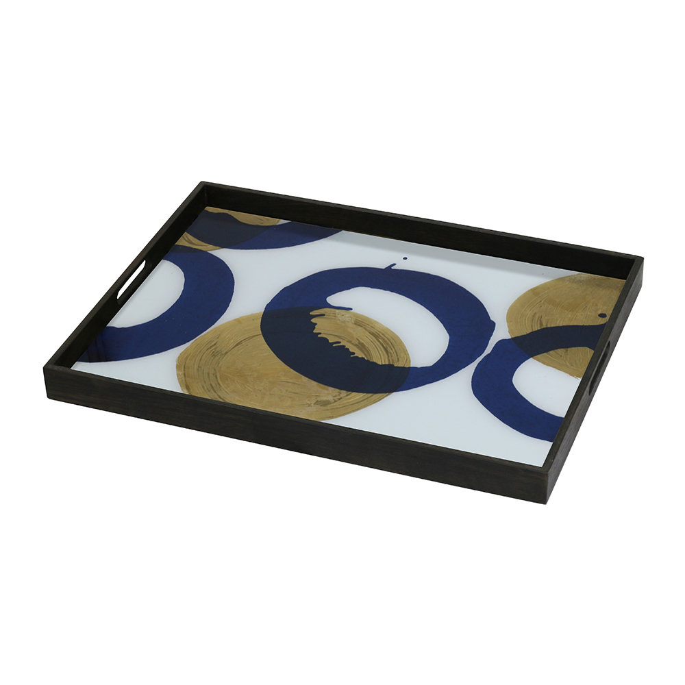 Notre Monde - Gold and Blue Halos Glass Tray
