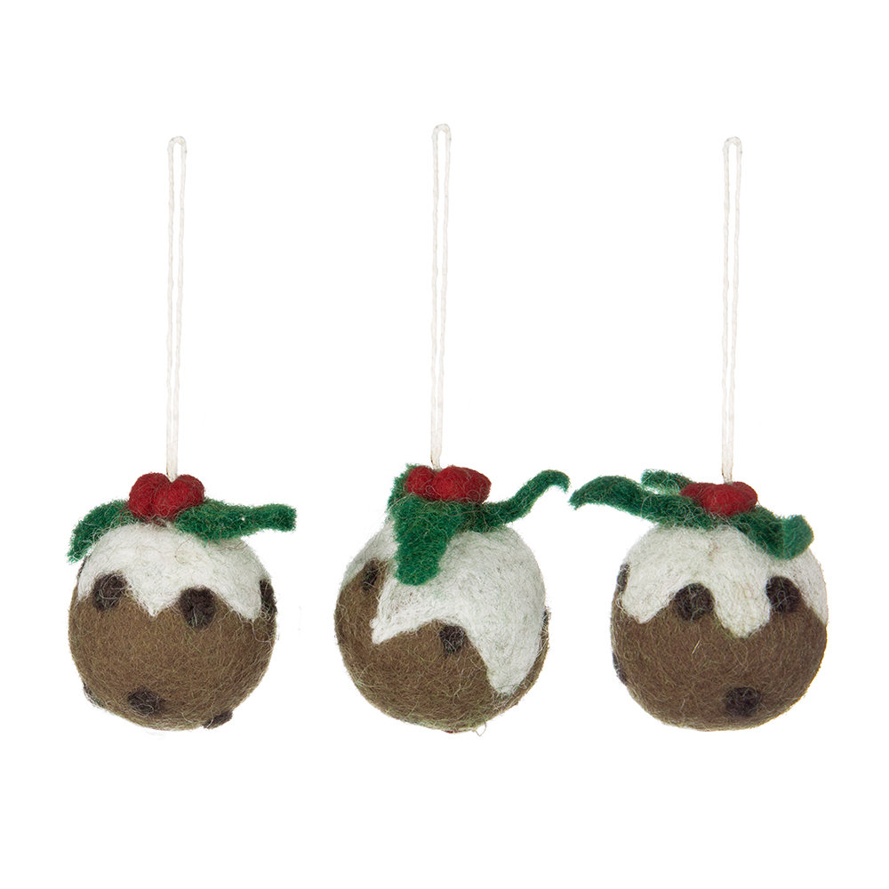 Buy amica felt christmas pudding tree decoration set of for Christmas decorations where to buy