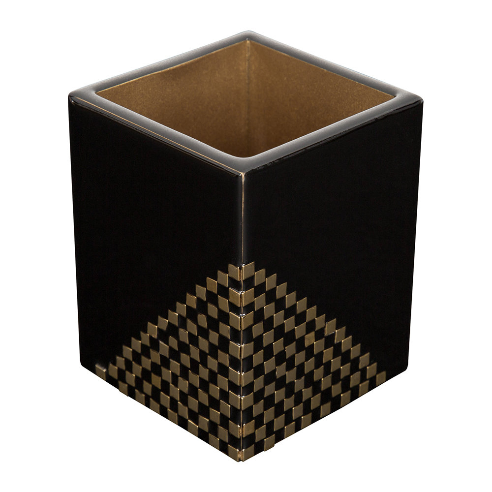 Buy mike ally matrix toothbrush holder black gold for Black and gold bathroom accessories