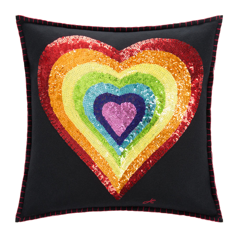 Jan Constantine - Glam Rock Rainbow Cushion - Heart