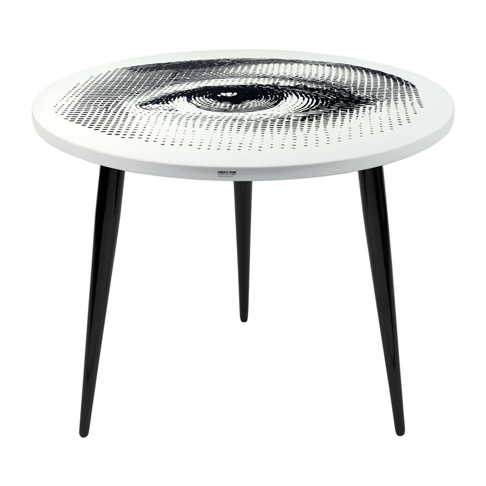 Fornasetti  Occhio Table with Wooden Legs  60cm Dia