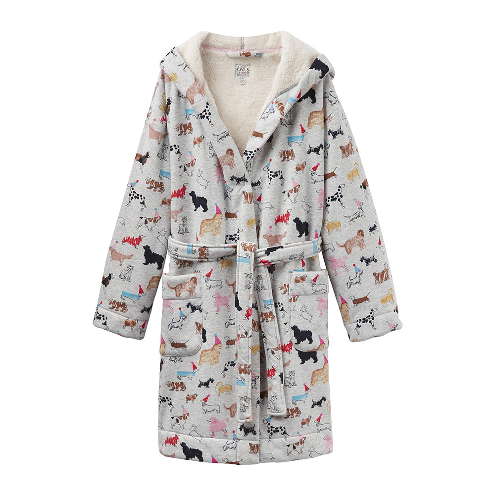 Buy Joules Idlewhile Grey Multi Dog Dressing Gown | Amara