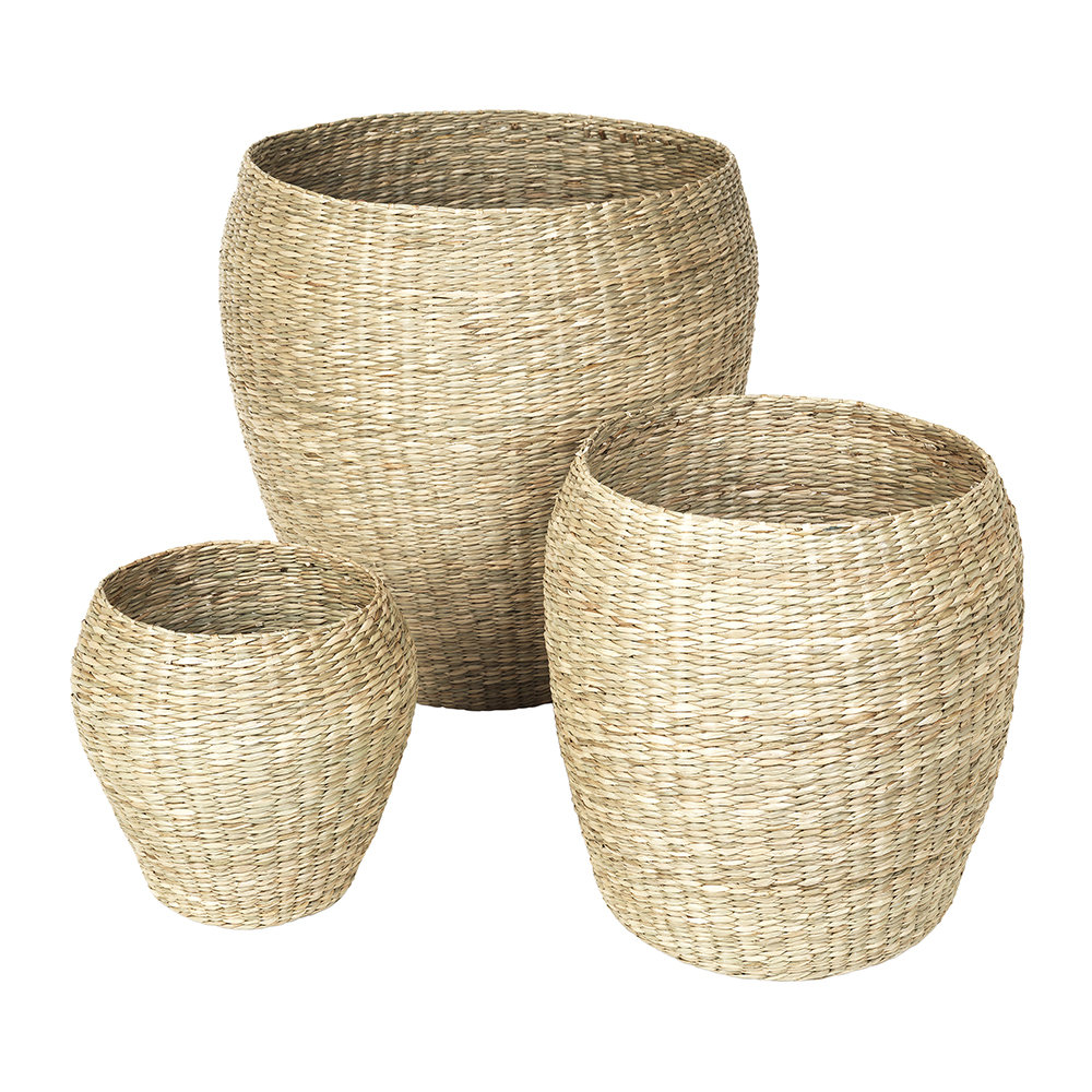 Buy Broste Copenhagen Oliver Seagrass Basket - Set of 3 | Amara