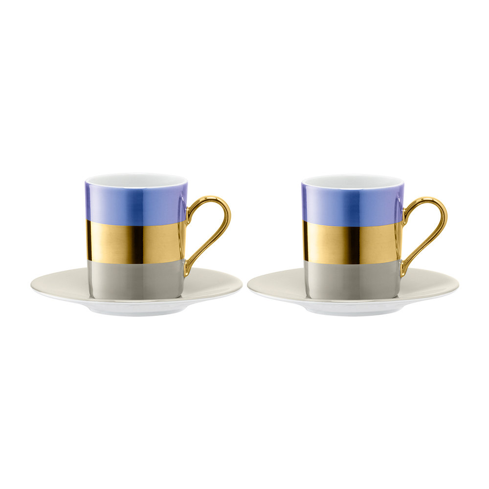LSA International - Bangle Coffee Cup & Saucer - Set of 2 - Blueberry