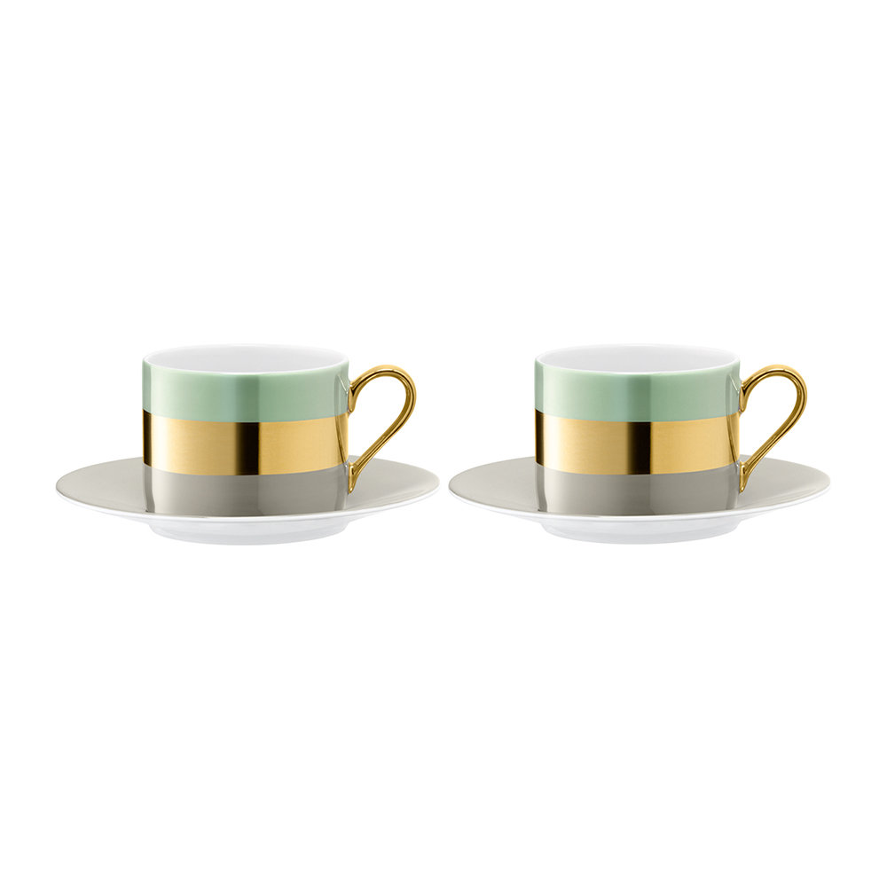 LSA International  Bangle Teacup  Saucer  Set of 2  Melon