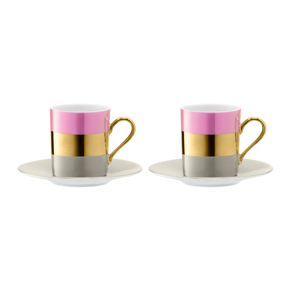 LSA International - Bangle Coffee Cup & Saucer - Set of 2 - Rose