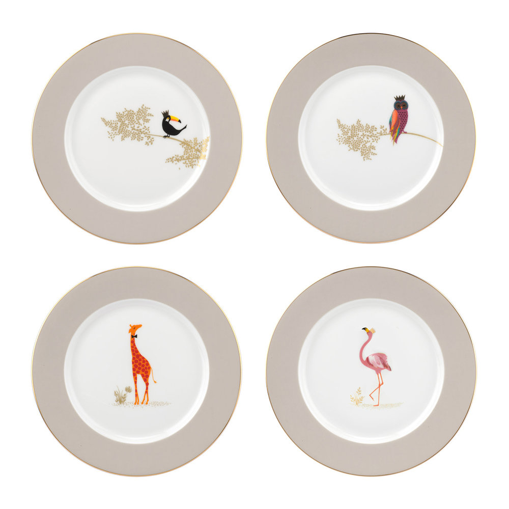 Sara Miller - Piccadilly Collection Cake Plates - Set of 4 - Design 1