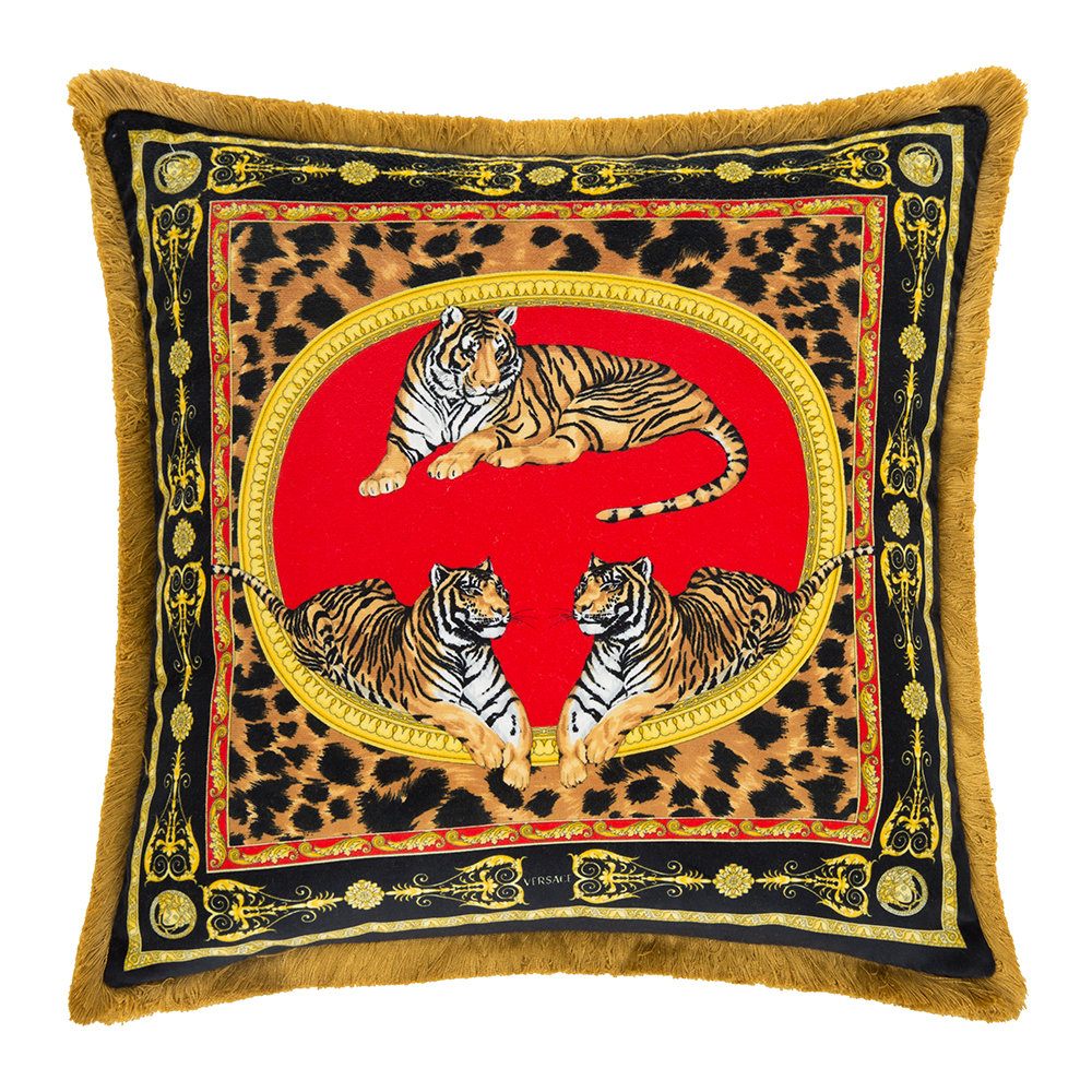 Acheter versace home coussin tigre 45x45cm rouge or - Canape versace ...