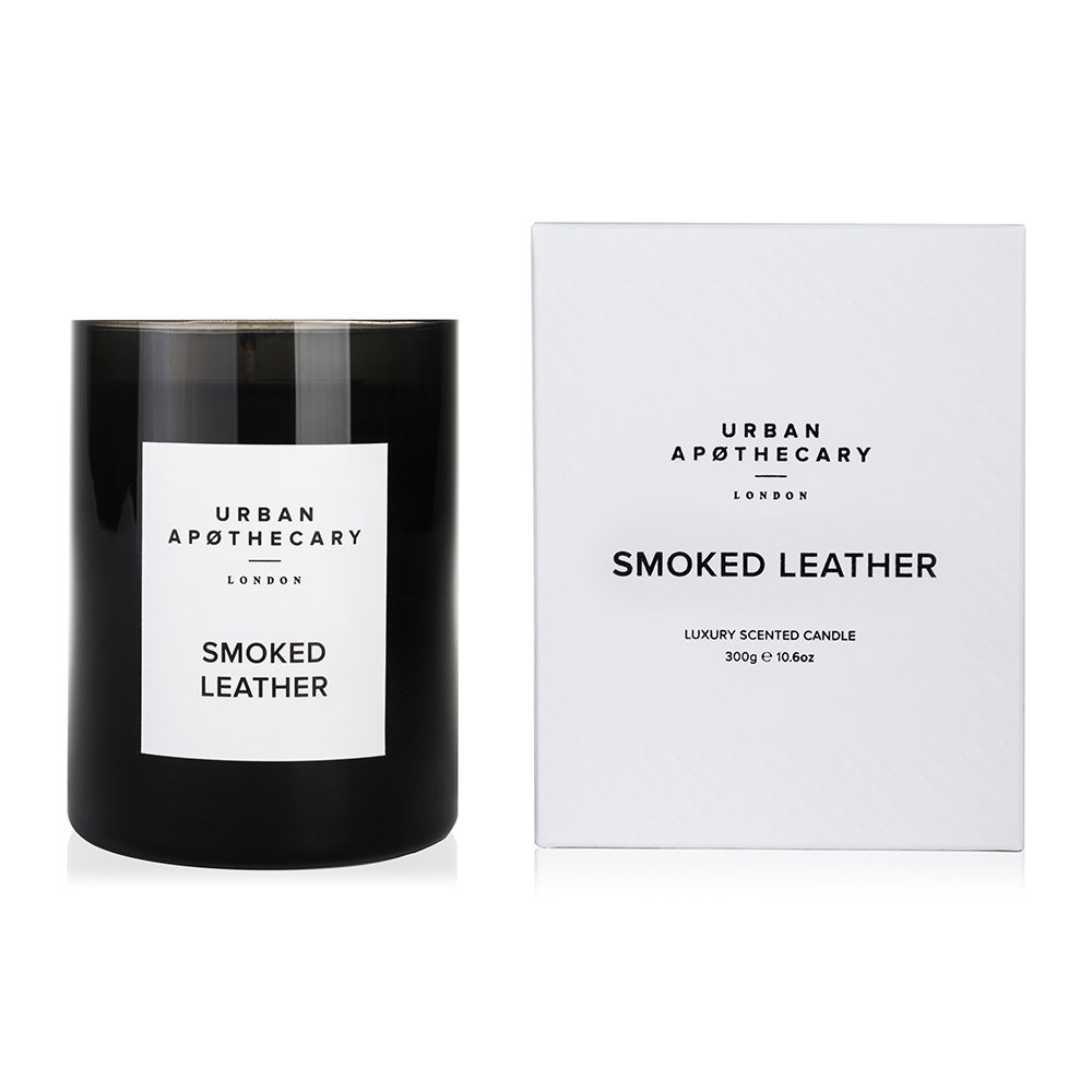 Urban Apothecary London  Luxury Scented Candle  Black Glass  Smoked Leather