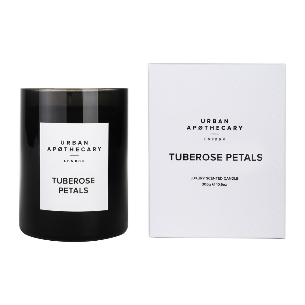 Urban Apothecary London - Luxury Scented Candle - Black Glass - Tuberose Petals