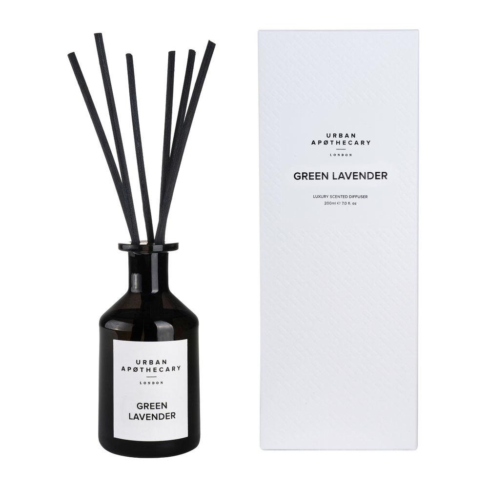 Urban Apothecary London - Luxury Reed Diffuser - Black Glass - Green Lavender