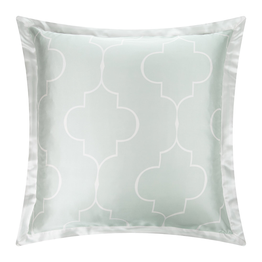 Gingerlily  Casablanca Silk Pillowcase  Ivory/Ice Blue  65x65cm