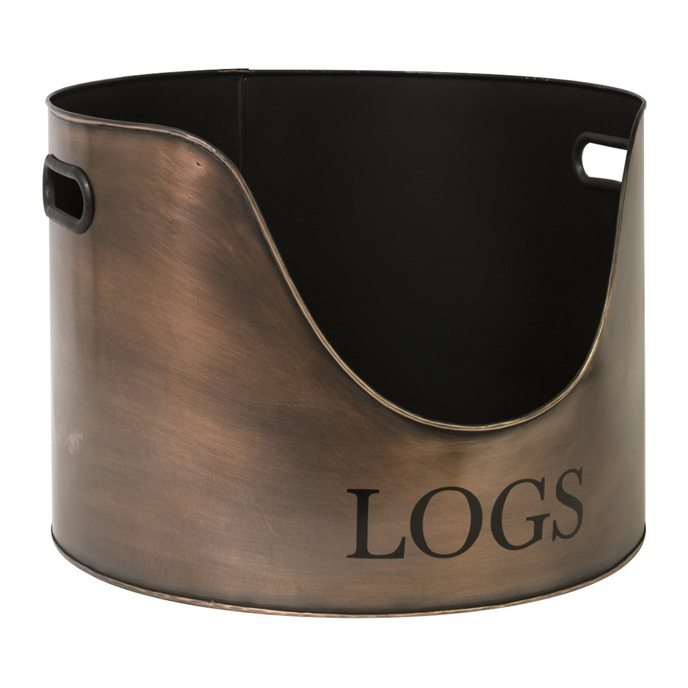 Iron  Clay - Round Log Holder - 30cm - Copper