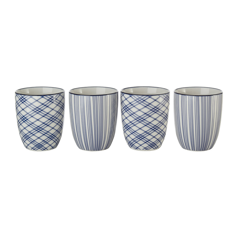 Pols Potten - Assorted Check  Stripe Cups - Set of 4