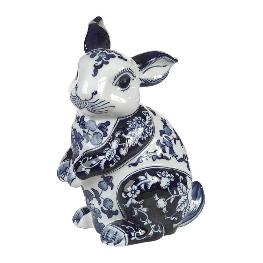 Pols Potten - Porcelain Piggy Bank - Blue/White - Rabbit