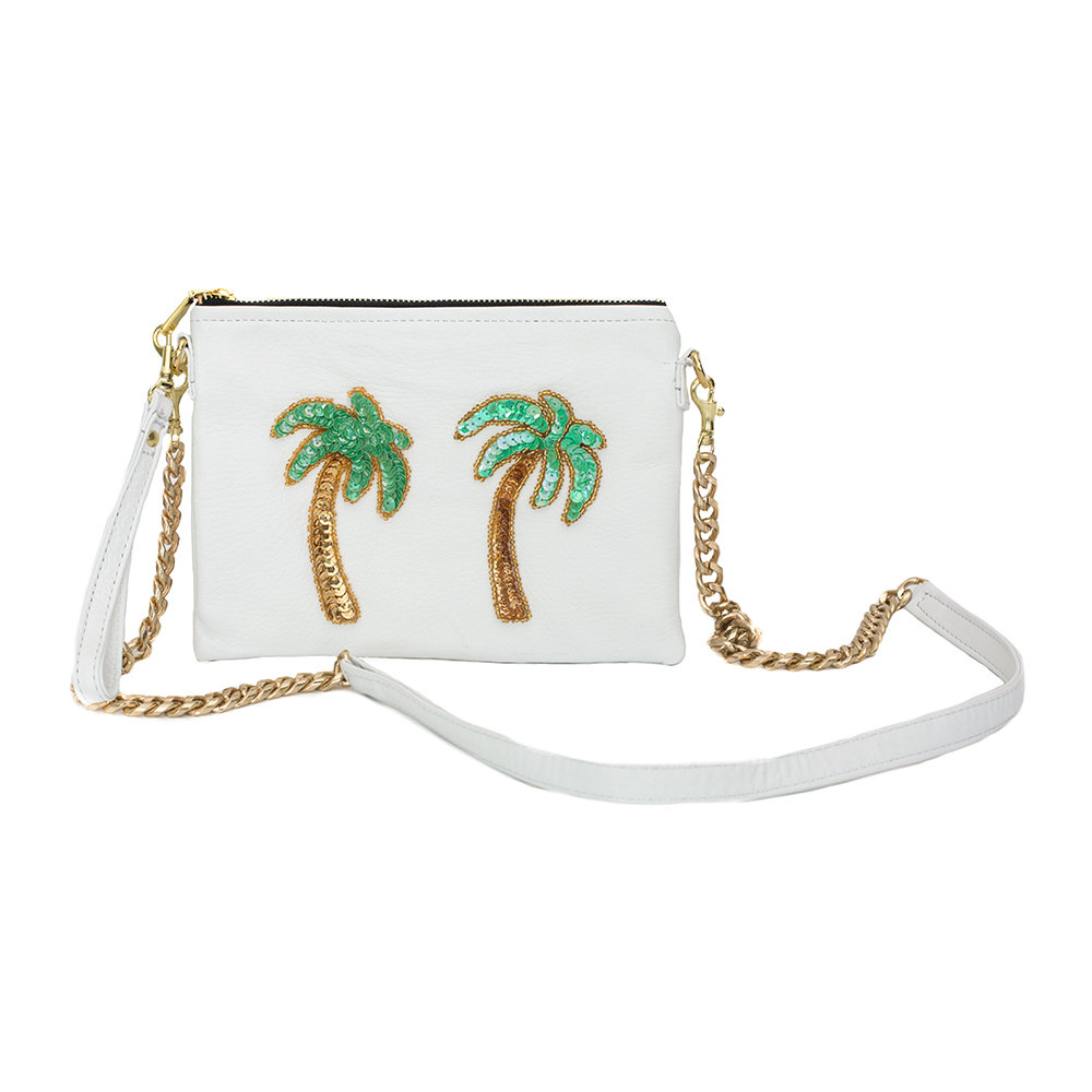 Tea  Tequila - Tulum Palm Tree Shoulder Bag - Small - White