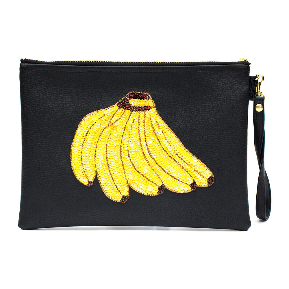 Tea  Tequila - Colima Banana Vegan Leather Clutch Bag - Large - Navy